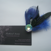 Blue Feather Fascinator (hair clip, brooch, head piece bridesmaid, wedding pink