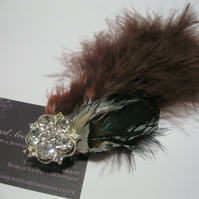 Dandy Feather Hat Clip (hair clip, brooch, head piece bridesmaid, wedding)