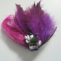 Purple Feather Fascinator (hair clip, brooch, head piece, bridesmaid, wedding)
