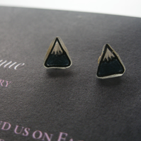 Hand Drawn Tiny Mountain Earrings (Gift ladies present drawing ink pen blue