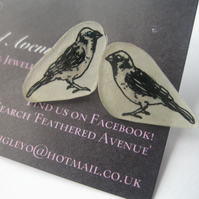 Hand Drawn Swallow Bird Earrings (Gift ladies present drawing ink pen)