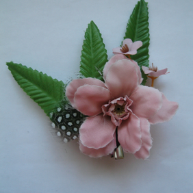 Pink Floral Fascinator (hair clip, brooch, head piece, burlesque wedding summer
