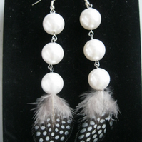 White Silver Pearl Dot Feather Earrings