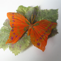 Butterfly on Leaf Hairclip