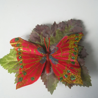 Red Butterfly on Leaf Hairclip