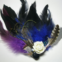 Large Navy Blue Fascinator (hair clip, brooch, head piece, burlesque, wedding)