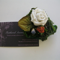 White Floral Garden - a Scarf, Hat or Hair Clip