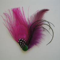 Purple & Pink Peacock Feather Fascinator