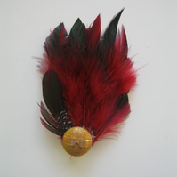 Red & Gold Feather Fascinator