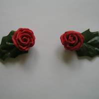 Woodland Whimsy - Red Flower & Leaf -  Floral Collar Clips