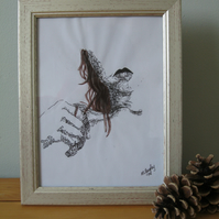 Tug (frame drawing pen ink painting pencil girl female nude original art)