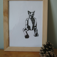 Geometric Cat (original pencil drawing pen & ink framed contemporary art)