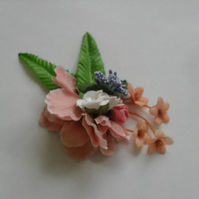 Coral Floral Fascinator (hair clip, brooch, head piece, burlesque wedding summer