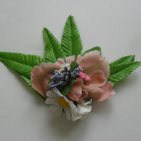 White & Pink Floral Fascinator (hair clip, brooch, burlesque wedding summer