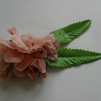 Dusty Pink Floral Fascinator  hair clip, brooch burlesque coral wedding summer