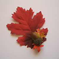 Acorn Fascinator (hair clip, brooch leaf, autumn wedding floral red rockabilly)