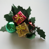 Christmas Presents & Holly Fascinator  - hair clip, brooch, head piece, wedding