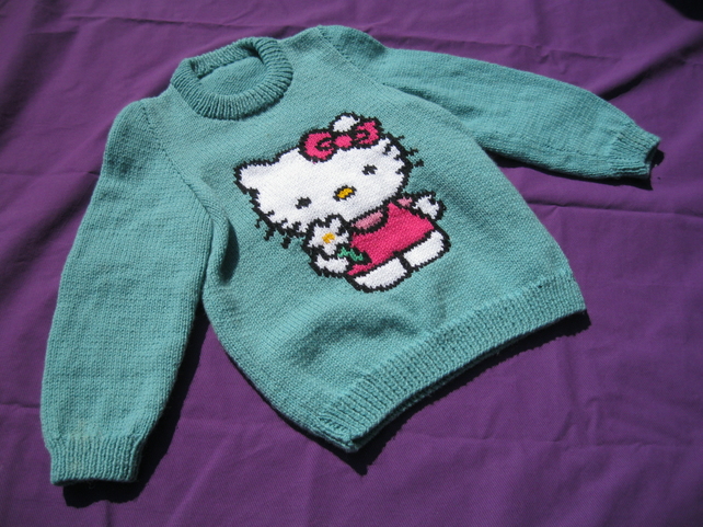 HAND KNITTED HELLO KITTY WINTER JUMPER GREEN GI... - Folksy