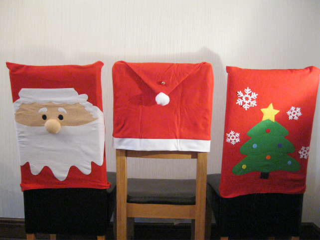 CHRISTMAS CHAIR COVERS SET OF 2 SANTA TREE HAT DECORATION HOME felt table