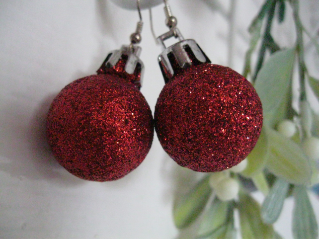 Christmas Earrings Red Bauble novelty granny santa funny present stocking