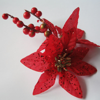 Spanish Red Floral Fascinator (hair clip, brooch, head piece wedding) poinsettia