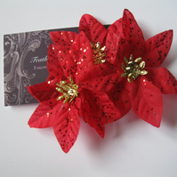 CHRISTMAS  Fascinator (hair clip, head piece, wedding) poinsettia red