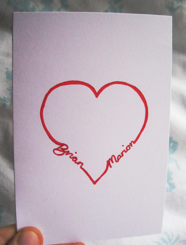 Personalised Valentines Card Anniversary Love Heart Custom Any Name Customised