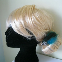 Light Blue & Silver Feather Fascinator (hair clip, brooch, wedding embellished)