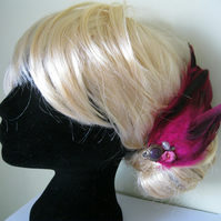 Pink Feather Fascinator (hair clip, brooch, head piece bridesmaid, wedding)