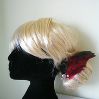 Red Feather Fascinator (hair clip, brooch, head piece bridesmaid, wedding)