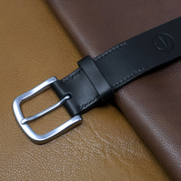 Black Leather Belt - Traditionally Handmade