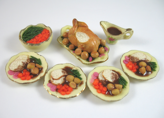 Dollhouse miniature food turkey dinner set