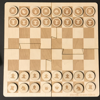 Minimal Chess Set - Travel Chess Set - Laser Cut Chess Set