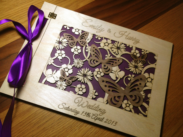 BEAUTIFUL LASER CUT WOOD CUSTOM MADE WEDDING GUEST BOOK