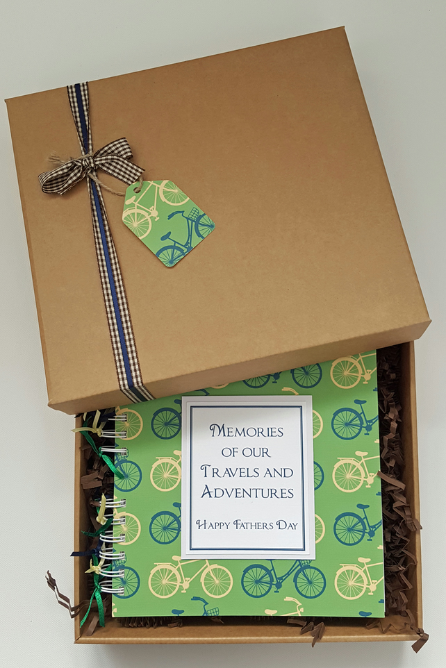 """Fathers Day Scrapbook Gift 8/"""" x 8/"""" boxed memory photo album can be personalised"""