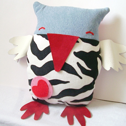 Zebra Owl Cushion Cuddle