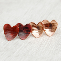 Textured Copper Heart Studs