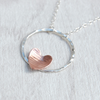 Copper heart and hammered circle necklace