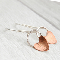Copper heart on silver circle hook earrings