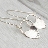 Silver heart on silver circle hook earrings