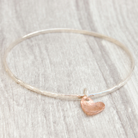 Copper heart on hammered skinny silver bangle