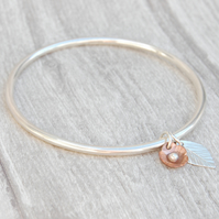 Copper flower and silver leaf bangle