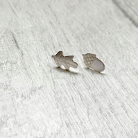 Acorn and Oak leaf silver studs