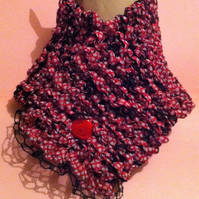 Hand knitted Wrap Over Scarf Buttoned Cowl Ribbon Fabric Red and White Polka Dot