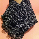 Black and White Polka Dot Ribbon Fabric Hand knitted Wrap Over Scarf Cowl