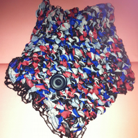 Hand knitted Wrap Over Scarf Cowl Red White Blue Polka Dot Vintage Button
