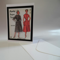 Blank Greeting Cards With Book Marks Vintage and Retro Fashion Sewing Patterns