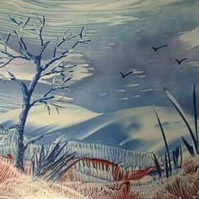 Windy Hills - Encaustic wax painting