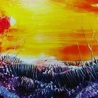 Fire in the sky - Encaustic wax painting