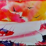 Sweeping sunset - Encaustic wax painting